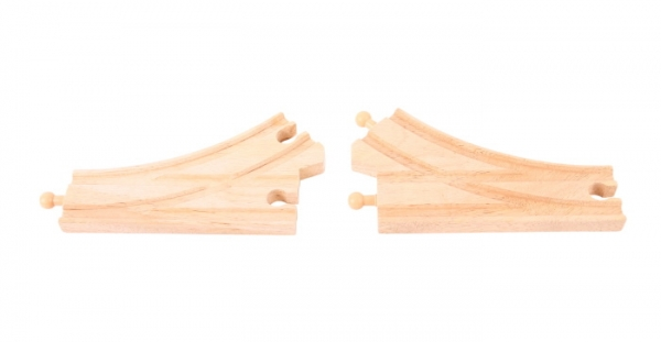 2 curved switch wooden tracks