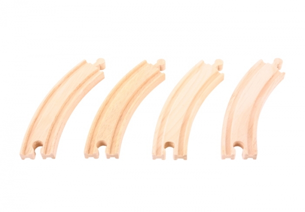 4 long curved wooden tracks