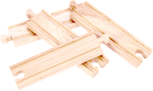 4 medium straight wooden tracks