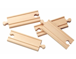 4 small straight wooden tracks