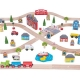 101 piece town and country wooden train set