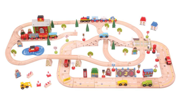 108 piece city road and railway wooden train set