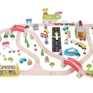 122 piece transportation wooden train set