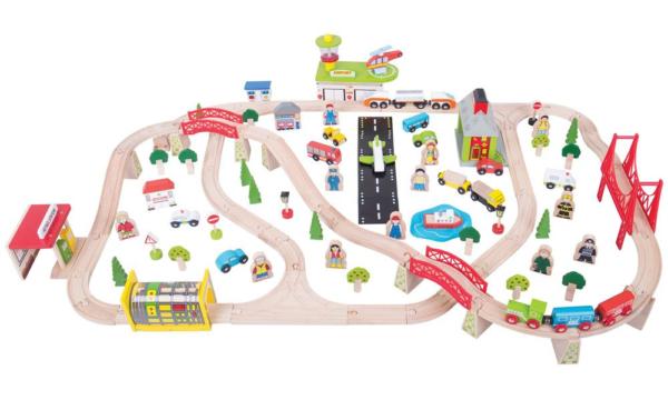122 piece transportation wooden train set