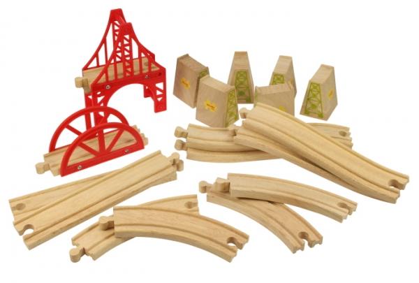 18 piece bridge wooden track expansion pack