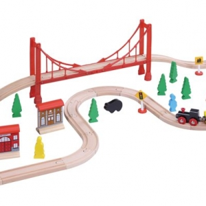 56 piece wooden train set