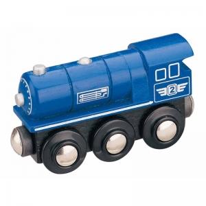 blue steam locomotive wooden train