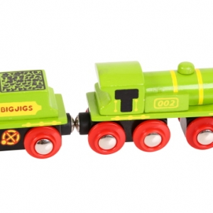 green engine and coal tender wooden train