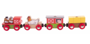 farmyard wooden train