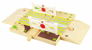 wooden roadway level crossing