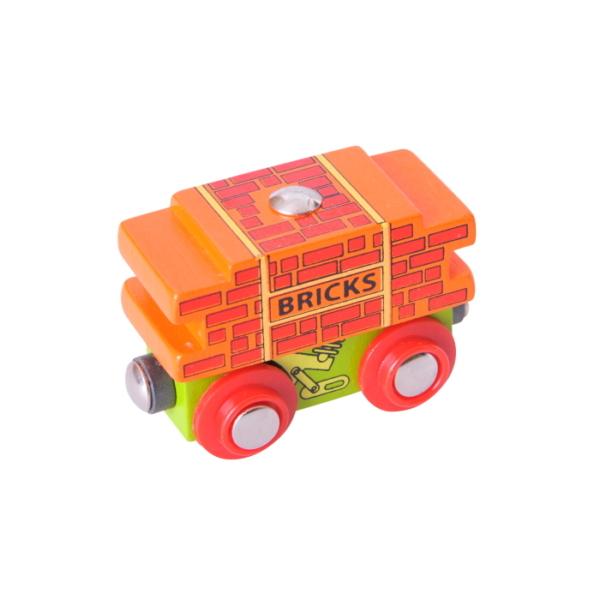 bricks wooden train wagon