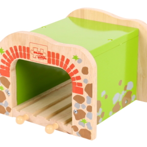 double wooden train tunnel