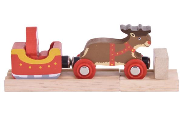wooden santa sleigh with reindeer