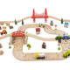 80 piece rural road and railway wooden train set