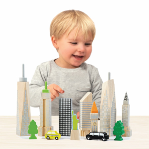wooden city skyline glow blocks child