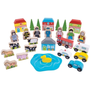 wooden trackside accessory set