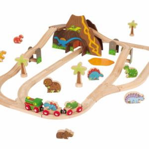 dinosaur wooden train set
