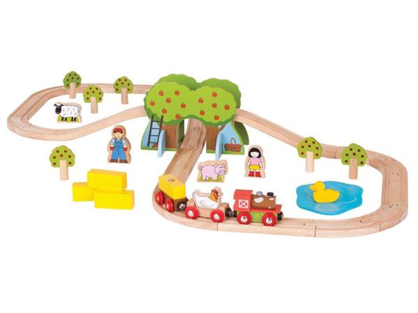farm wooden train set