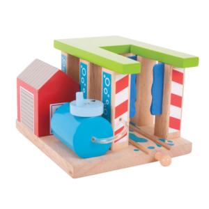 wooden train washer building