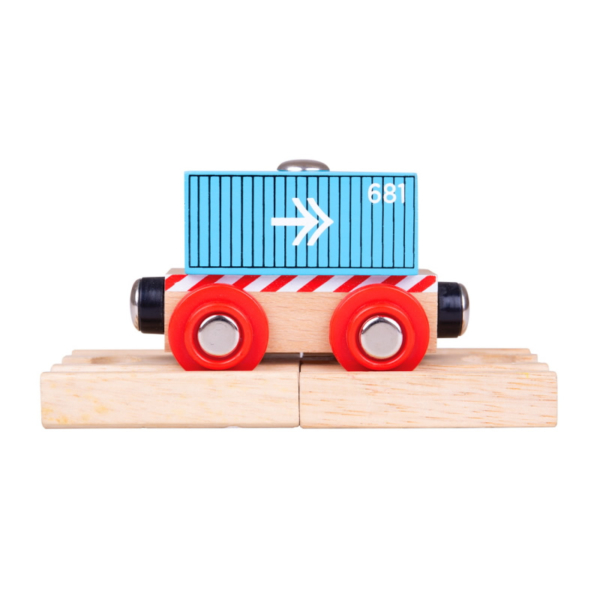 blue container wooden train wagon
