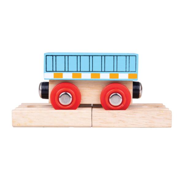 blue wooden train wagon