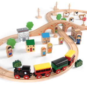little town wooden train set