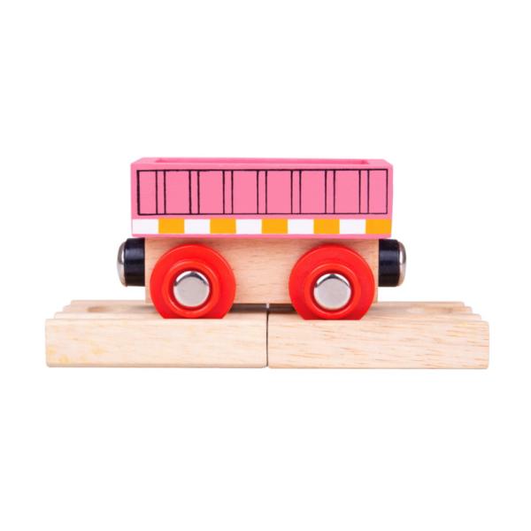 pink wooden train wagon