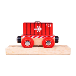 red container wooden train wagon