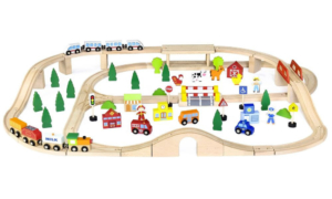multi-level wooden train set