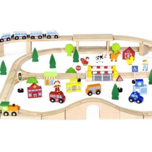 multi-level wooden train set