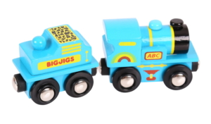blue abc engine wooden train