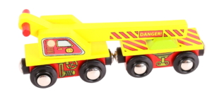 crane wooden train wagon