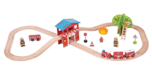 fire station wooden train set
