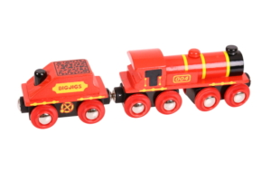 red engine and coal tender wooden train