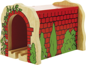 wooden red brick tunnel