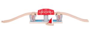 wooden river swing bridge